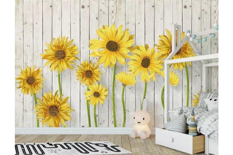3D Home Wallpaper Sunflower D37 ACH Wall Murals Woven paper (need glue), XXXL 416cm x 254cm (WxH)(164''x100'')