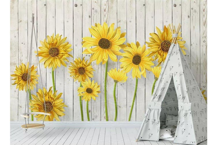 3D Home Wallpaper Sunflower D37 ACH Wall Murals Woven paper (need glue), XXXXL 520cm x 290cm (WxH)(205''x114'')