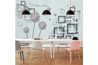 3D Home Wallpaper Square Pattern D36 ACH Wall Murals Woven paper (need glue), XXXL 416cm x 254cm (WxH)(164''x100'')