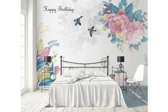 3D Home Wallpaper Flower Bird D35 ACH Wall Murals Woven paper (need glue), XXL 312cm x 219cm (WxH)(123''x87'')