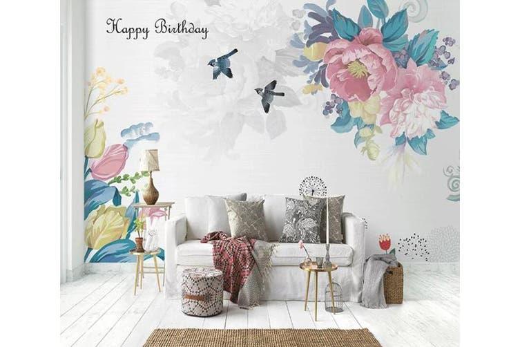 3D Home Wallpaper Flower Bird D35 ACH Wall Murals Self-adhesive Vinyl, XXL 312cm x 219cm (WxH)(123''x87'')
