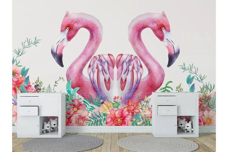 3D Home Wallpaper Pink Flamingo D33 ACH Wall Murals Woven paper (need glue), XXL 312cm x 219cm (WxH)(123''x87'')