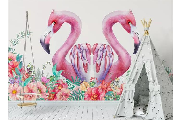 3D Home Wallpaper Pink Flamingo D33 ACH Wall Murals Woven paper (need glue), XXXL 416cm x 254cm (WxH)(164''x100'')