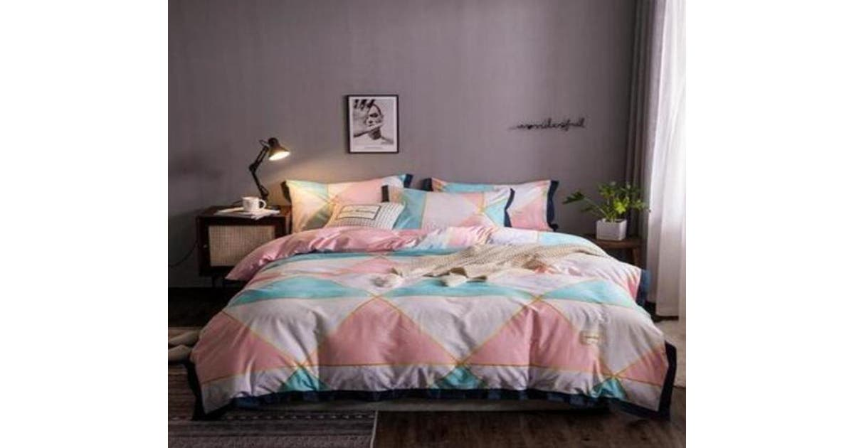 3d Pink Mint Green Triangle 14029 Quilt, Pink Grey And Mint Bedding