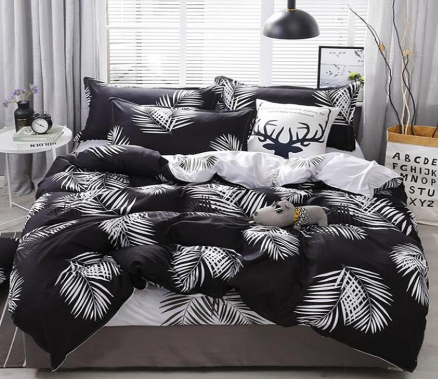 3d White Leaves On Black 12010 Bed Pillowcases Quilt Duvet Cover Quilt Cover Bedding Set Quilt Cover Quilt Duvet Cover King Single Matt Blatt