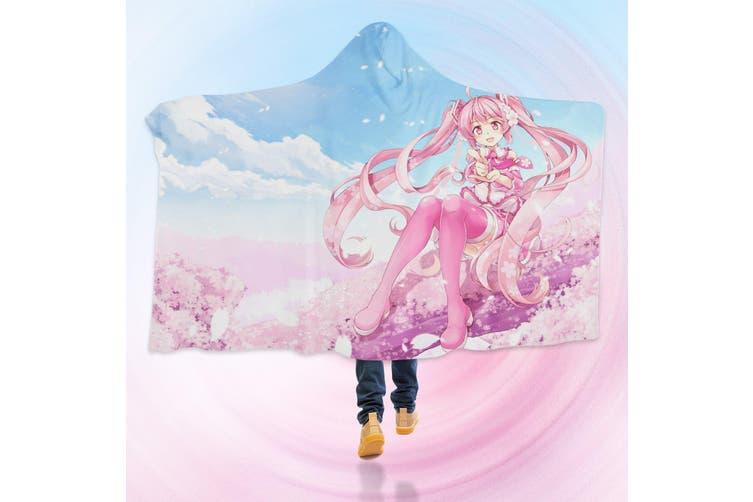 3D Hatsune Miku 4620 Anime Hooded Blanket, 150x110cm(59''x43'')