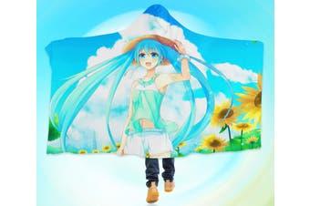 3D Hatsune Miku 4611 Anime Hooded Blanket, 150x110cm(59''x43'')