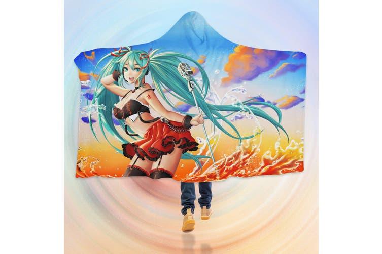 3D Hatsune Miku 4606 Anime Hooded Blanket, 150x130cm(59''x51'')