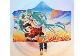 3D Hatsune Miku 4606 Anime Hooded Blanket, 150x200cm(59''x78'')