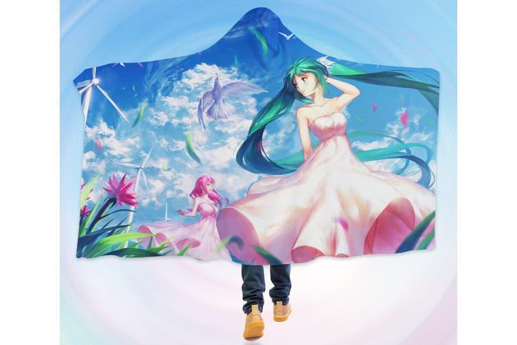 3D Hatsune Miku 4605 Anime Hooded Blanket, 150x200cm(59''x78'')