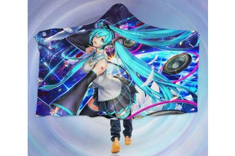 3D Hatsune Miku 4604 Anime Hooded Blanket, 150x130cm(59''x51'')