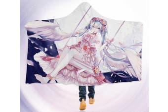 3D Hatsune Miku 4598 Anime Hooded Blanket, 150x110cm(59''x43'')