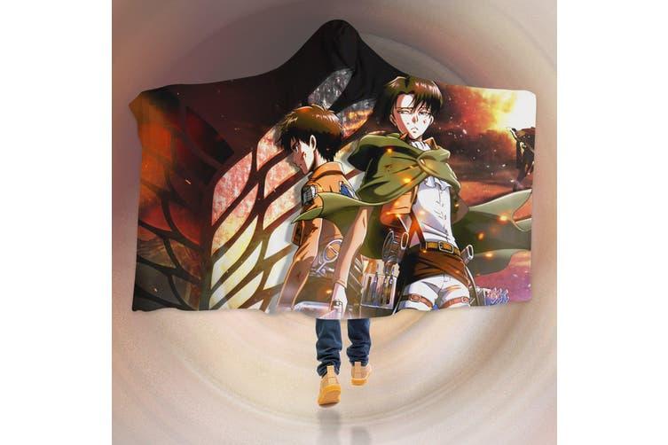 3D Attack On Titan 4557 Anime Hooded Blanket, 150x200cm(59''x78'')