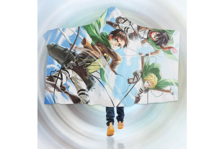 3D Attack On Titan 4554 Anime Hooded Blanket, 150x110cm(59''x43'')