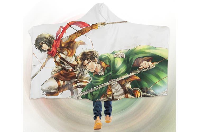 3D Attack On Titan 4553 Anime Hooded Blanket, 150x110cm(59''x43'')