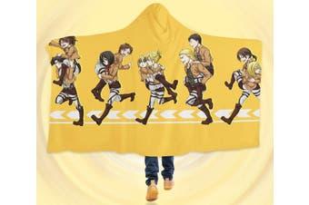 3D Attack On Titan 4550 Anime Hooded Blanket, 150x200cm(59''x78'')