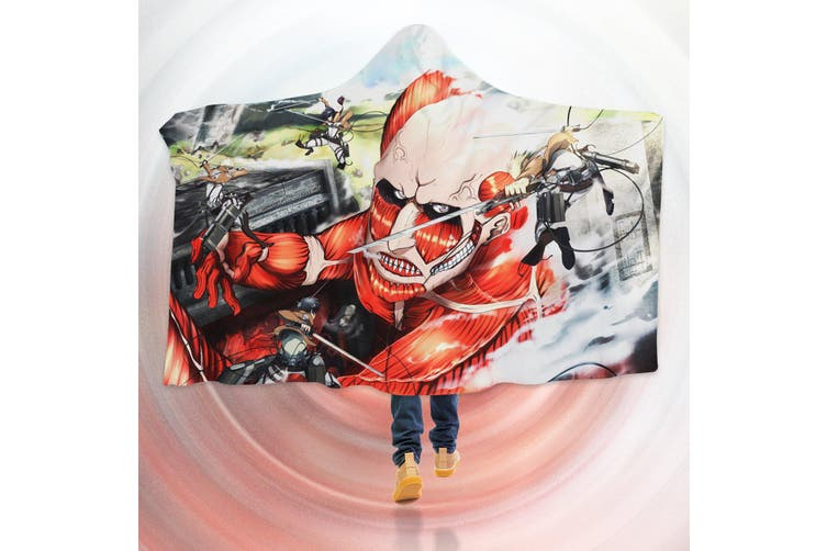 3D Attack On Titan 4545 Anime Hooded Blanket, 150x200cm(59''x78'')