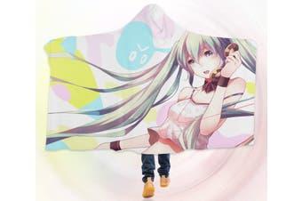 3D Hatsune Miku 4542 Anime Hooded Blanket, 150x130cm(59''x51'')