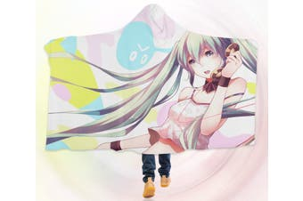 3D Hatsune Miku 4542 Anime Hooded Blanket, 150x200cm(59''x78'')