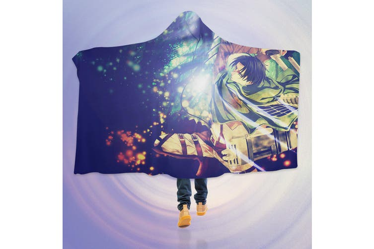 3D Attack On Titan 4537 Anime Hooded Blanket, 150x200cm(59''x78'')