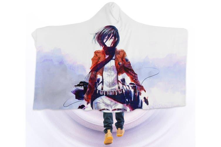 3D Attack On Titan 4536 Anime Hooded Blanket, 150x110cm(59''x43'')