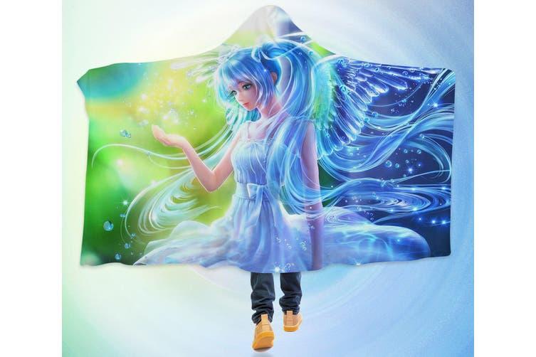 3D Hatsune Miku 4287 Anime Hooded Blanket, 150x200cm(59''x78'')