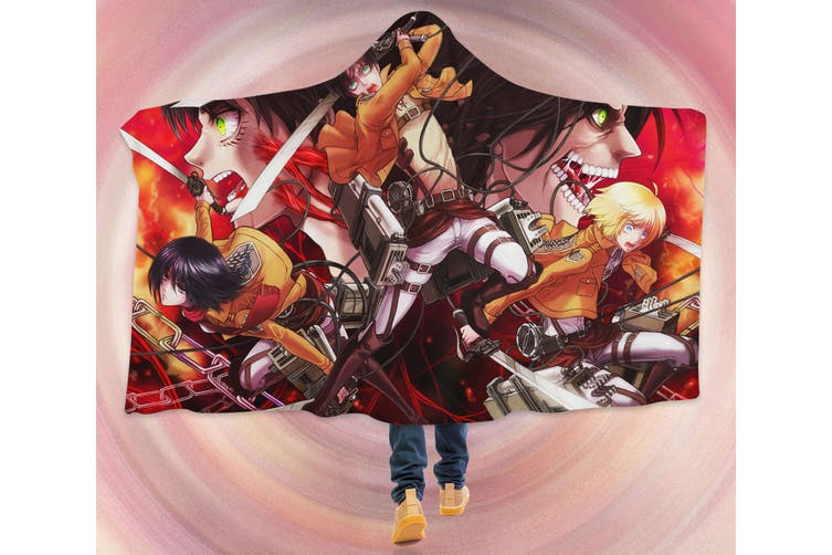 3D Attack On Titan 4280 Anime Hooded Blanket, 150x110cm(59''x43'')