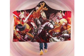 3D Attack On Titan 4280 Anime Hooded Blanket, 150x200cm(59''x78'')