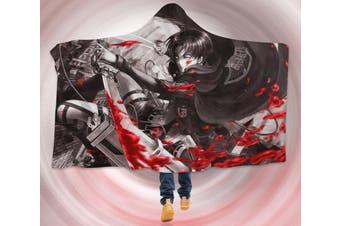 3D Attack On Titan 4276 Anime Hooded Blanket, 150x110cm(59''x43'')