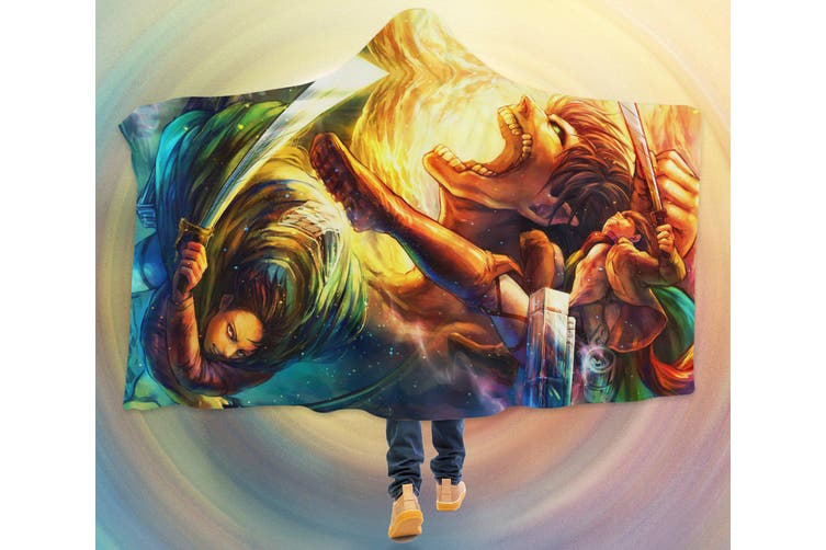 3D Attack On Titan 4275 Anime Hooded Blanket, 150x130cm(59''x51'')