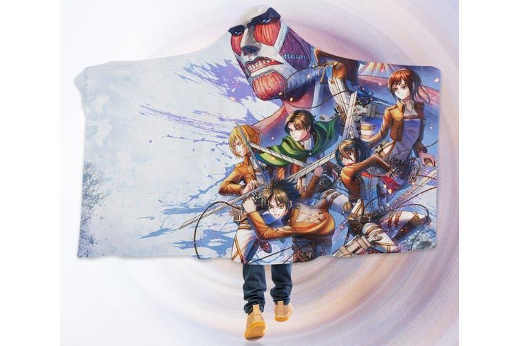 3D Attack On Titan 4274 Anime Hooded Blanket, 150x130cm(59''x51'')