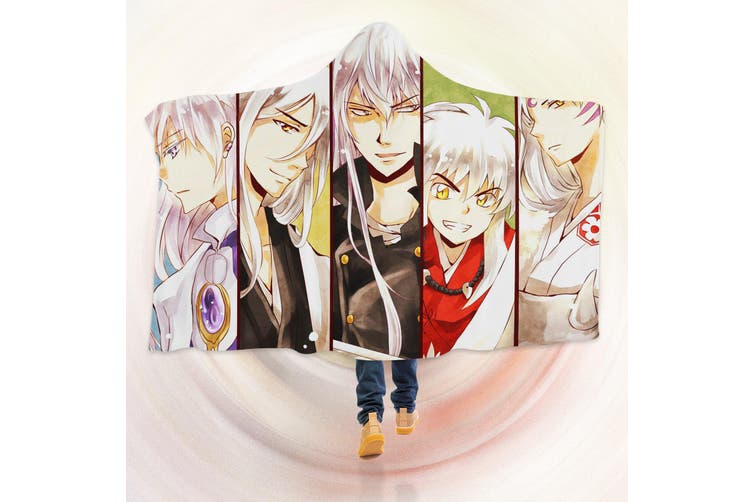 3D Inuyasha 4266 Anime Hooded Blanket, 150x200cm(59''x78'')