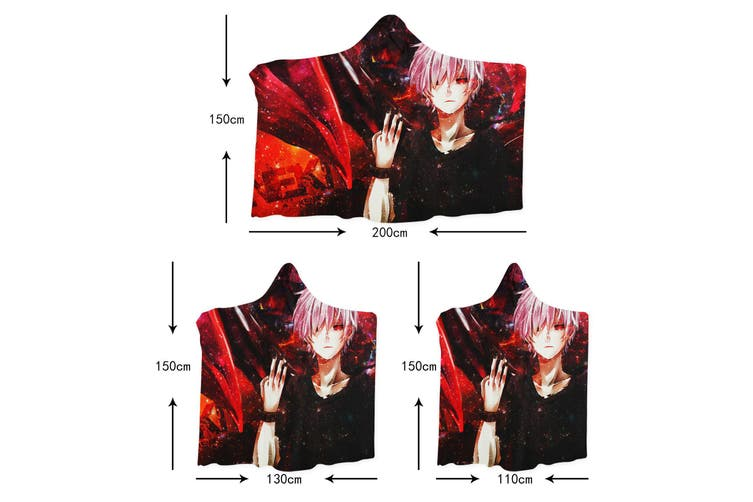 3D Inuyasha 4265 Anime Hooded Blanket, 150x110cm(59''x43'')
