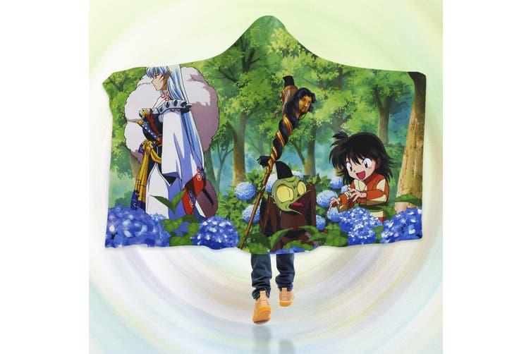 3D Inuyasha 4262 Anime Hooded Blanket, 150x130cm(59''x51'')