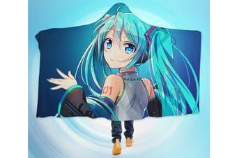 3D Hatsune Miku 4259 Anime Hooded Blanket, 150x110cm(59''x43'')