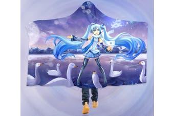 3D Hatsune Miku 4257 Anime Hooded Blanket, 150x130cm(59''x51'')