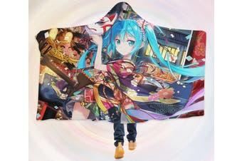 3D Hatsune Miku 4256 Anime Hooded Blanket, 150x130cm(59''x51'')