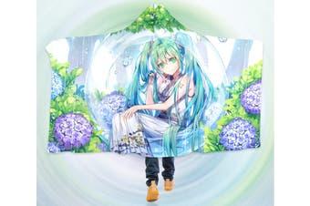 3D Hatsune Miku 4255 Anime Hooded Blanket, 150x110cm(59''x43'')