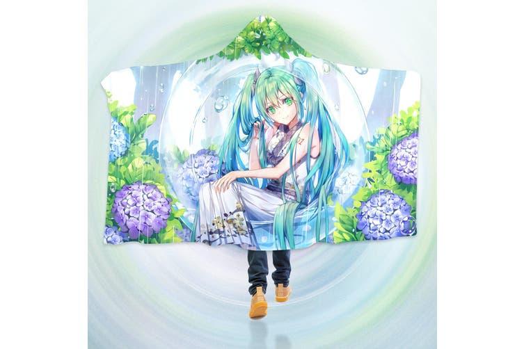 3D Hatsune Miku 4255 Anime Hooded Blanket, 150x200cm(59''x78'')