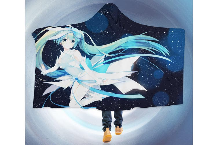 3D Hatsune Miku 4628 Anime Hooded Blanket, 150x200cm(59''x78'')