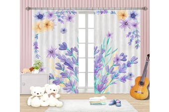 3D Purple Flowers 137 Curtains Drapes