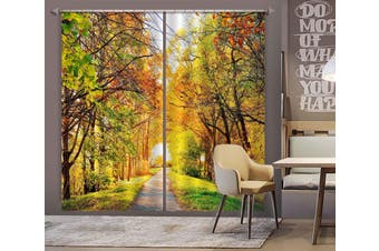 3D Sunny Forest 125 Curtains Drapes