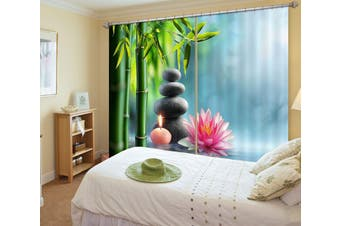 3D Bamboo Forest Lotus 115 Curtains Drapes