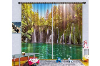 3D Forest Waterfall 109 Curtains Drapes