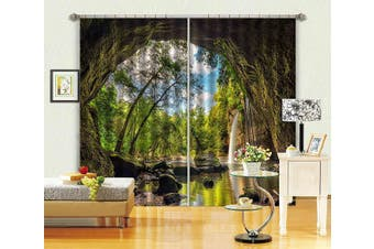 3D Cave Waterfall Scenery 77 Curtains Drapes