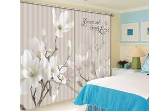 3D White Petals 135 Curtains Drapes
