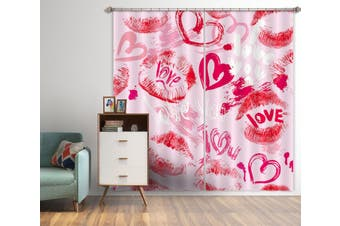 3D Red Love 870 Curtains Drapes