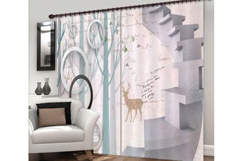 3D Forest Fawn 134 Curtains Drapes