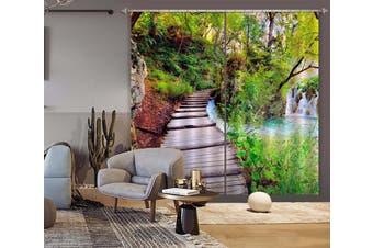 3D Park Wooden Bridge 130 Curtains Drapes