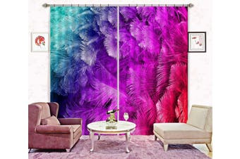 3D Red Feather 6 Curtains Drapes